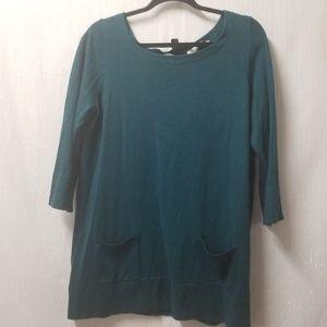 LOFT Women's Peacock Green Long Sweater Sz L